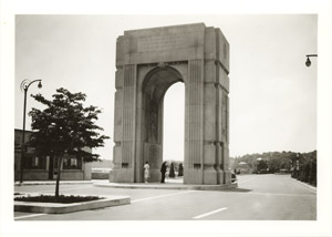 Memorial Arch at Niagara unveiled (construction owing to efforts of Thomas B. McQuesten, Chairman of Niagara Parks Commission, 1934-1943)